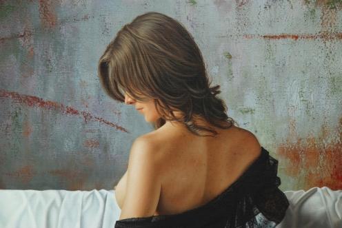 el arte de la seduccion oleo sobre lino 140 x 180 detalle 01