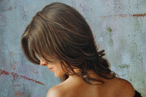 el arte de la seduccion oleo sobre lino 140 x 180 detalle 03