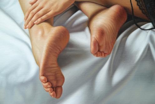 el arte de la seduccion oleo sobre lino 140 x 180 detalle 05