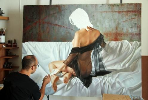 el arte de la seduccion oleo sobre lino 140 x 180 pintor 01