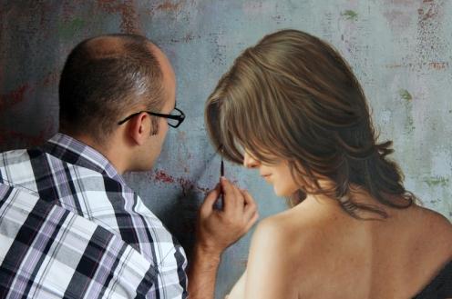 el arte de la seduccion oleo sobre lino 140 x 180 pintor 02