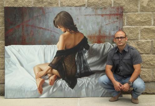 el arte de la seduccion oleo sobre lino 140 x 180 pintor 03
