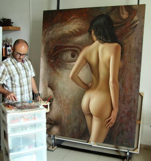 la mirada del coloso 180 x 140 pintando 02