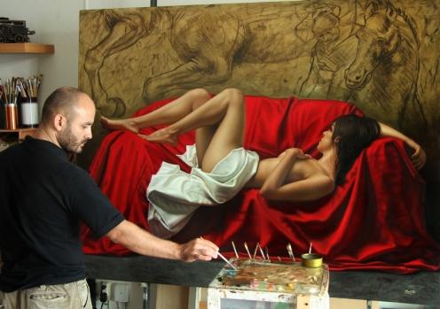 los caballos de Da Vinci 140 x 180 pintor 02