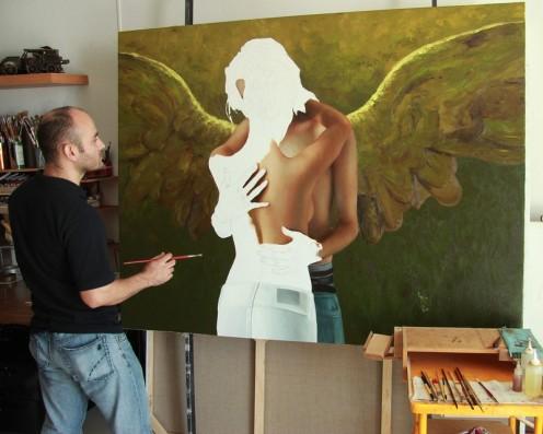el caballero alado 140 x 180 pintor 01