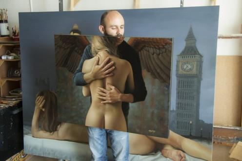 el caballero alado II 70 x 90 pintor 01